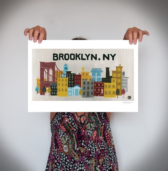 Brooklyn, NY Birch Wood Skyline Print by Juggling Feats contemporary artwork