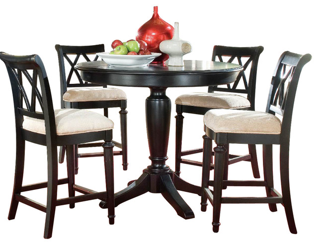 American drew camden dark 5 piece bar height ped dining for Traditional black dining room sets