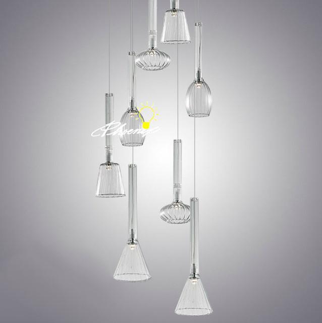 10 Best Of Modern Stairwell Pendant Lighting: Modern Crystal LED Stair Pendant Lighting