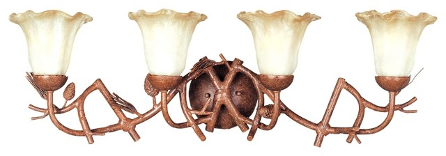 "Country - Cottage Pinecones Collection 35"" Wide Bathroom Light Fixture traditional-bathroom-lighting-and-vanity-lighting"