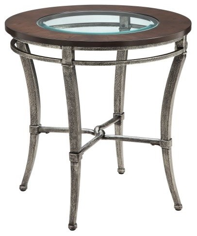 Stein World Verona Round Metal with Wood and Glass Top End Table modern-indoor-pub-and-bistro-tables