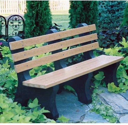 Jayhawk Plastics Comfort Park Avenue Recycled Plastic Commercial Park Bench Traditional