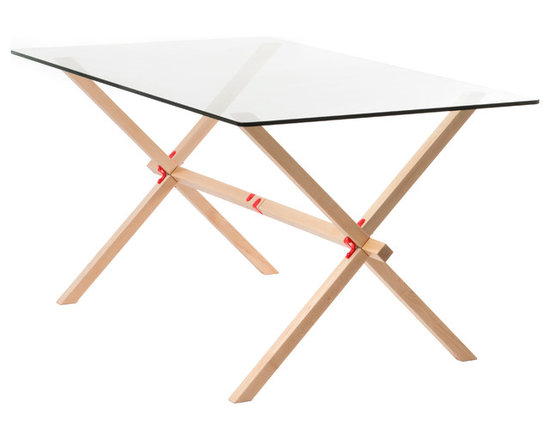 "Frame + Panel - Winston Trestle, Red Hardware - As its name suggests, The Winston Table takes its inspiration from traditional trestle tables. The alternating angled legs give it some rhythm, while creating a sturdy base for the ½"" thick glass top."