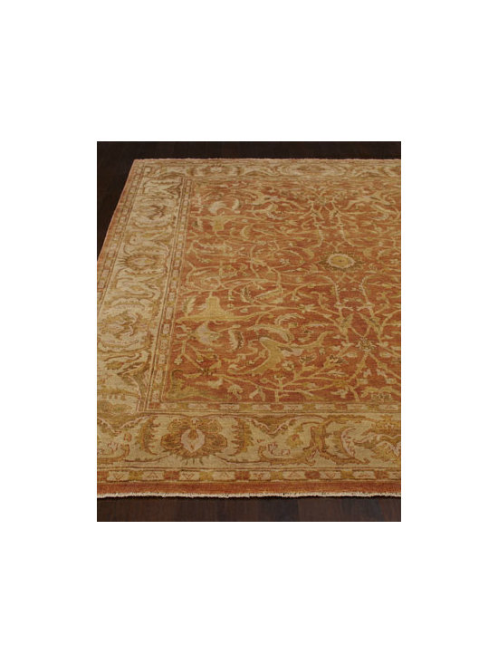 "Exquisite Rugs - Exquisite Rugs ""Red Ginger"" Oushak Rug - Antique-weave, royal-red Oushak rug features gold and light chocolate highlights for a look that is truly regal. Durable and intended for foot traffic. Hand knotted of wool on a cotton foundation. Hand trimmed. Washed for an antiqued appearance. Siz..."