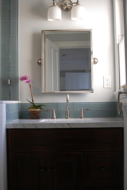 Ocean glass subway tile bathroom backsplash tile by for Houzz com bathroom tile