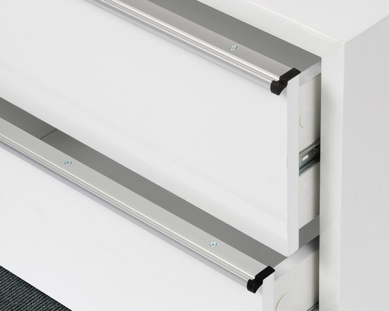 """Grip Rail Drawer Pull - DP215 - A thin and tasteful aluminum extrusion in Satin Aluminum finish. One of its best features is that it does not require any routing of the drawer; screws in from top. And we will cut to your exact size, from 5"""" to 6'. No need to finish ends either, as it comes with black rubber end caps."""
