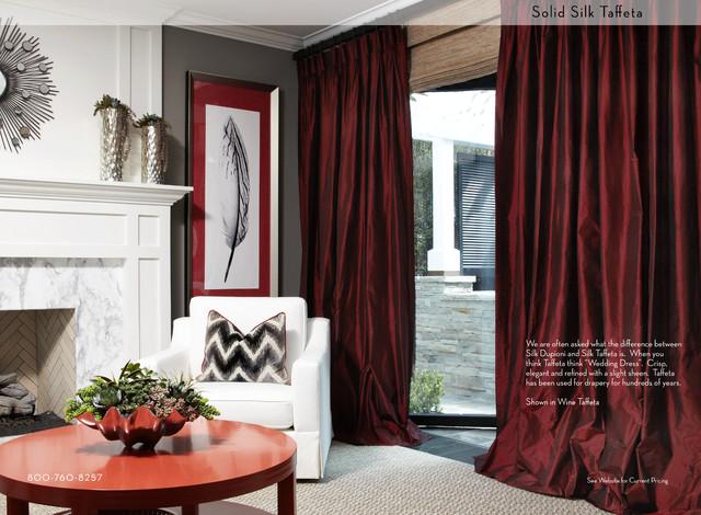 Solid Silk Taffeta In Wine Contemporary Curtains