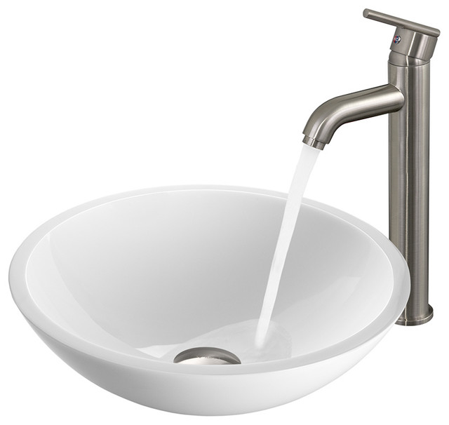 VGT211 - Flat Edged White Phoenix Stone Vessel Sink and Brushed Nickel ...