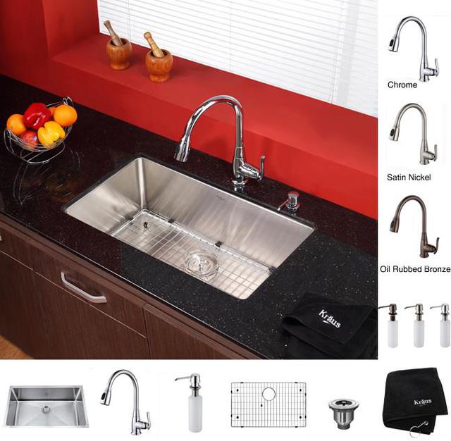 Kraus 30-in Undermount Single Bowl Stainless Steel Kitchen Sink with Kitchen Fau contemporary-kitchen-sinks