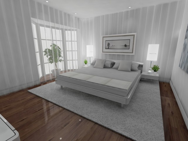 White Bedroom Rendering modern