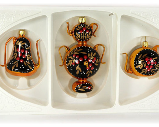 """""""Tea time"""" Christmas Ornament Set - This """"Tea time"""" Christmas ornaments set has 3 items: two tea pots (2'' and 2.4'') and traditional Eastern European samovar (4""""). Each item is hand painted by a skilled artist and will be a beautiful addition to your Christmas ornaments collection. Artists use same painting technique that was used in 1800's. Each glass ornament is painted individually which makes them unique and adds some small variations to each product."""
