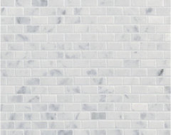 Carrara Mini Brick Mosaic- Ann Sacks Tile & Stone traditional kitchen tile