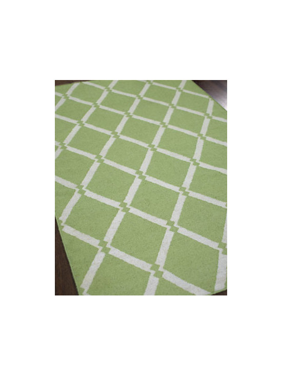 "Exquisite Rugs - Exquisite Rugs ""Colbert"" Rug, 5' x 8' - Lattice-pattern green and white rug freshens the room instantly. Handwoven of wool. Durable and intended for foot traffic. Size is approximate. Imported."