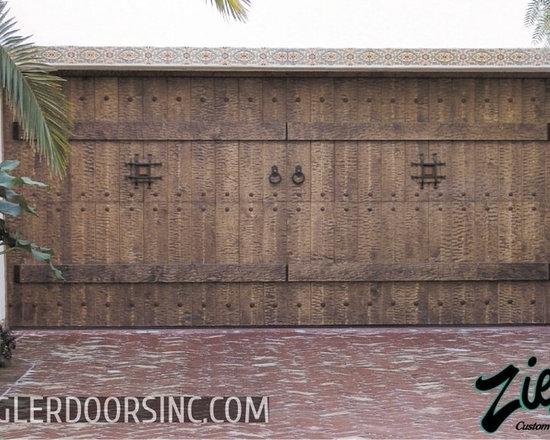 Hand-hewn and distressed Wooden, Spanish Style Garage Door -