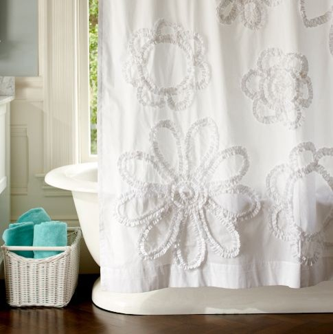Ruffle Flower Shower Curtain eclectic shower curtains