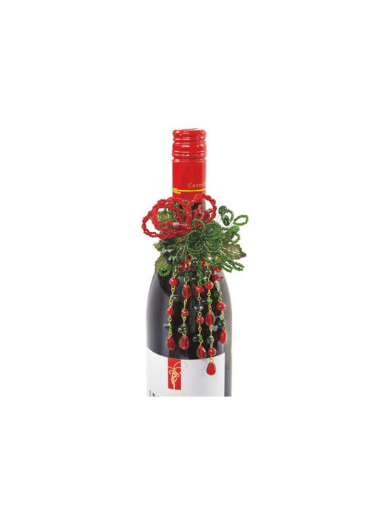 """Grandin Road - Red & Green Wine Jewelry - Ideal for wine for parties at home, and will be especially well appreciated when accompanying a hostess gift. Can also be used as festive napkin rings. Versatile enough for many other creative uses you dream up. 2-1/2"""" ring slips perfectly over bottlenecks and napkins. Our sparkling Wine Bottle Jewelry adds an unexpected touch of panache to wine bottles, gift wrapping, or holiday table settings. Let your imagination run free with our glimmering metallic and glass adornments.. . . ."""