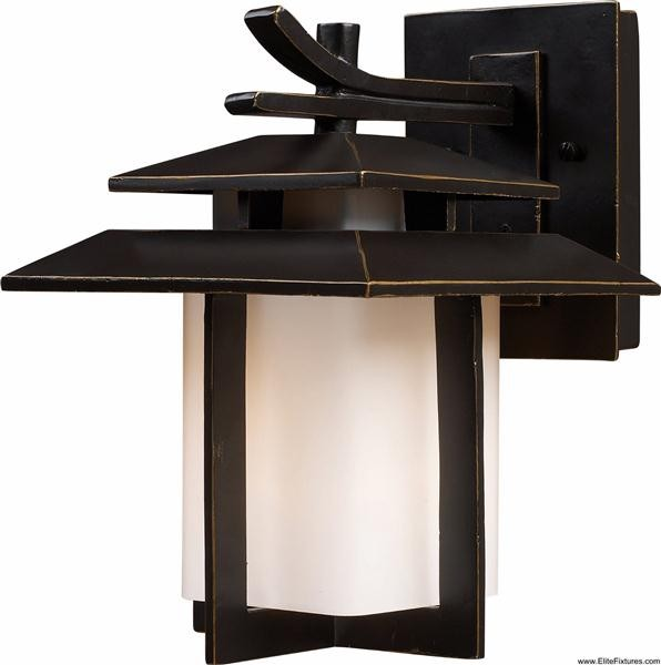 Elk Lighting 42170/1 1 Light Outdoor Wall Sconce Kanso Collection asian-outdoor-wall-lights-and-sconces