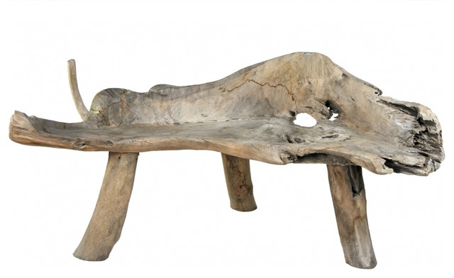 Driftwood Bench eclectic-indoor-benches