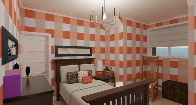 Girl's Bedroom with Checkered Walls rendering