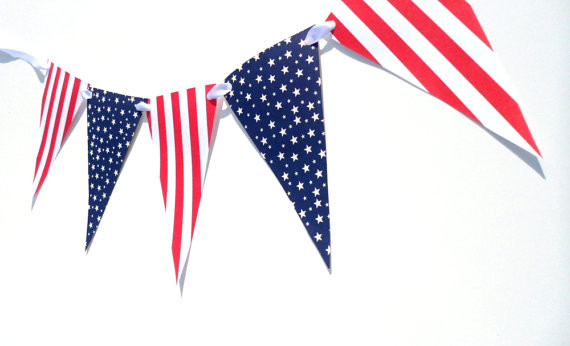Fourth of July Bunting Paper Banner by Decor by Toria traditional-holiday-decorations