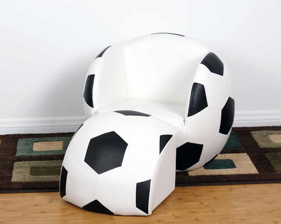 Kids Furniture - Give your little soccer fan the best seat in the house with this chair and ottoman set. Featuring soft faux leather and thick padded cushion, with sturdy wooden bases. It can be easily cleaned with mild soap and water. Sized perfectly for children.