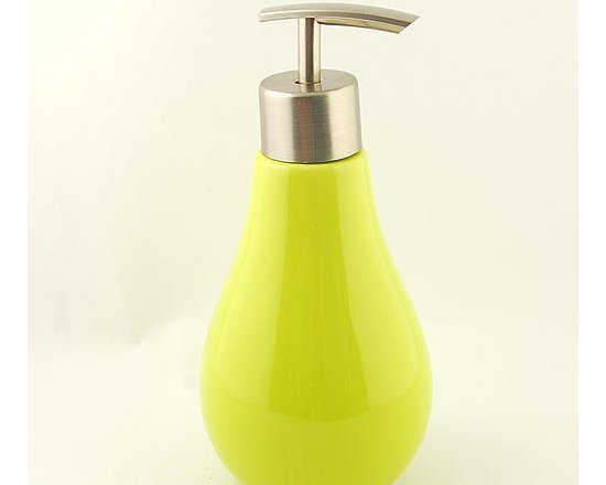 Lovely Yellow Bulb Ceramic Soap Dispenser - Features: