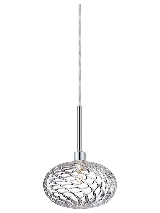 "Eurofase - Eurofase Spadina 6 1/4"" Wide Chrome Mini Pendant - The Spadina Collection by Eurofase creates versatility with convertible features. Featuring clear rippled hand-blown glass and chrome accents this pendant is sure to fascinate from any room. Chrome finish. Clear hand-blown shade. Convertible pendant. Features clear rippled hand-blown glass with chrome accents. Includes one 60 watt bulb. Includes 72"" lead wire. 6 1/4"" wide. 5 3/4"" high. Adjusts from 5 3/4"" to 81"" high.   Chrome finish.  Clear hand-blown shade.  Convertible pendant.  Features clear rippled hand-blown glass with chrome accents.  Includes one 60 watt bulb.  Includes 72"" lead wire.  6 1/4"" wide.  5 3/4"" high.  Adjusts from 5 3/4"" to 81"" high."