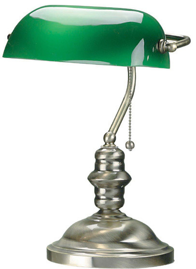 contemporary antique brass bankers desk lamp with green. Black Bedroom Furniture Sets. Home Design Ideas