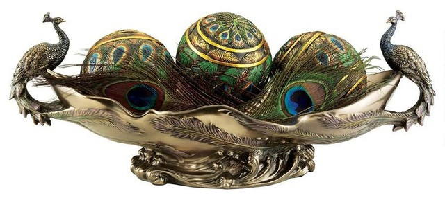 Faux bronze peacock decorative centerpiece sculptural bowl for Home decorations peacock