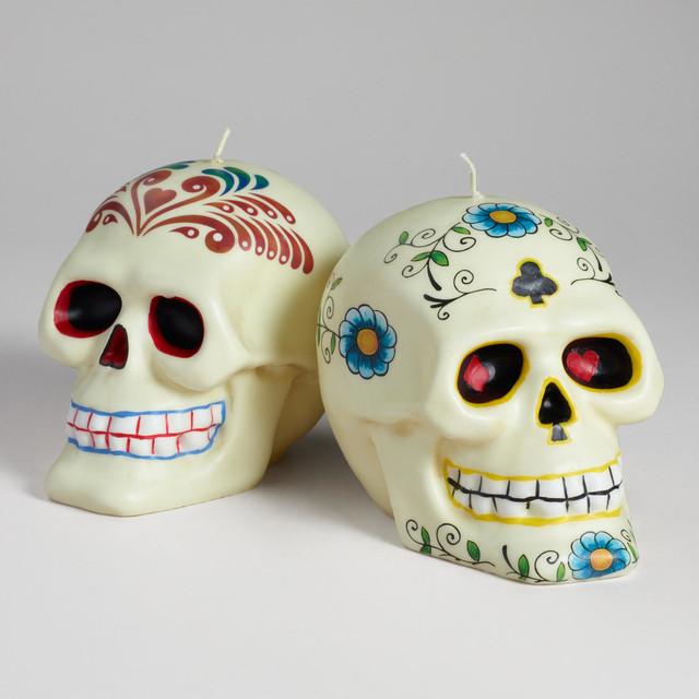 Los Muertos Skull Candle - Contemporary - Candles - by ...