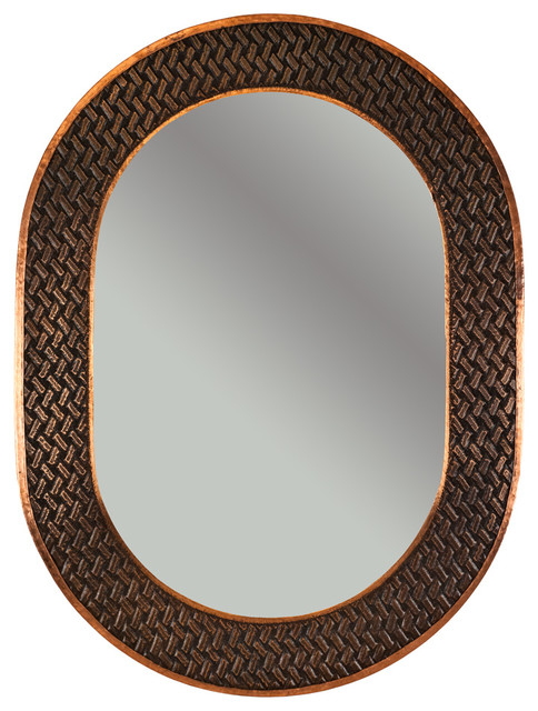35 Oval Copper Mirror With Braid Design Rustic