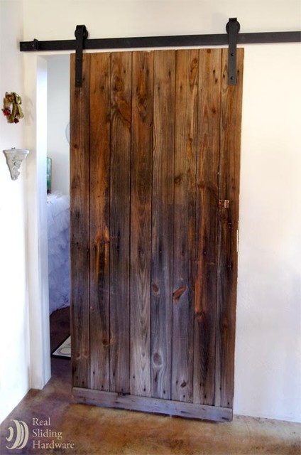 Rustic Sliding Barn Door On Bathroom