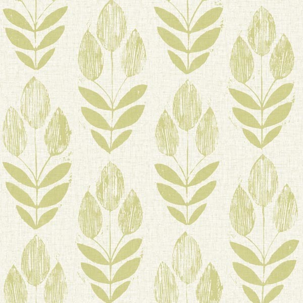 Scandinavian Green Block Print Tulip Wallpaper Bolt