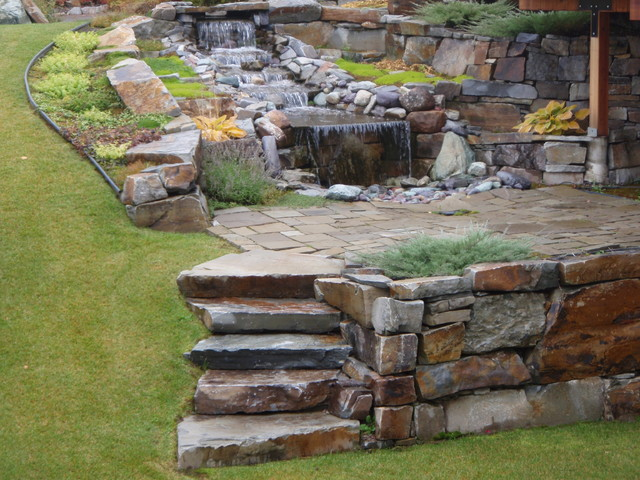 Landscaping With Stone Blocks : Mcgregor lake dry stack rustic landscaping stones and