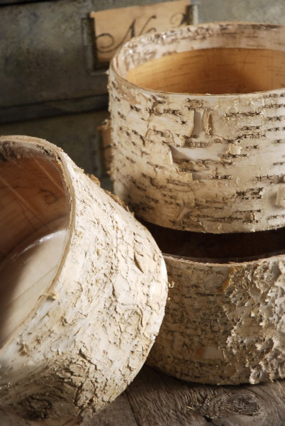 Natural Birch Bark Covered Pots, Round contemporary indoor pots and planters