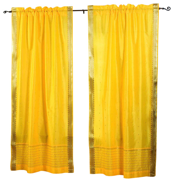 Pair of Yellow Rod Pocket Sheer Sari Curtains, 60 X 108 In. eclectic-curtains