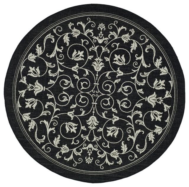 Safavieh Courtyard Indoor/ Outdoor Geometric-pattern Black/ Sand Rug (7'10 Round contemporary-outdoor-rugs