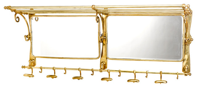 HK Designs Double Coat Rack With Mirror traditional-mirrors