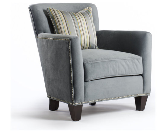 Suzanna Chair - Suzanna has great lines offering a full arm and supportive back, it's like this chair 'hugs' you when you sit in it! Details include a decorative toss pillow and nail heads that follow the lines of the chair. Shown in slate-blue microfiber, Suzanna is just as comfortable in a family room as it is in a living room or basement and is probably our most versatile chair no matter what it's covered in!!