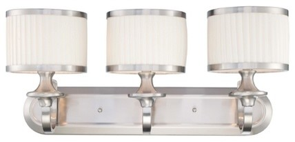 Modern Bathroom Light with White Shades in Brushed Nickel Finish bath-and-spa-accessories
