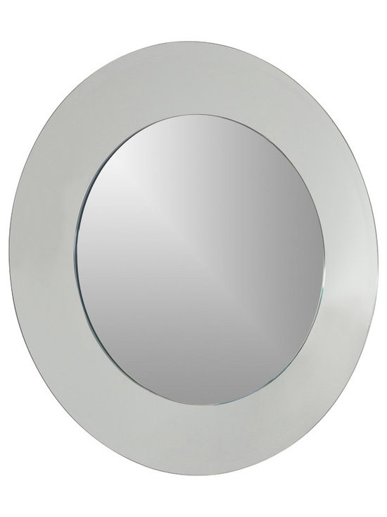 Decor Wonderland Mirrors - Decor Wonderland Oriana Round Modern Bathroom Mirror - The Oriana modern round wall mirror is a masterpiece in modern design and function. This large modern wall mirror features a 1 inch outside bevel, 1/2 inch inside bevel, the border is 5.5 inches of exquisite mirror and the inside mirror is 23.5 inches. The large Oriana wall mirror is sure to enhance any room in your home, living room, entrance, master suite or bathroom.