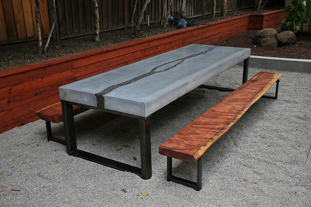 Concrete Table Benches Modern Dining Sets San Francisco By 5 Feet From The Moon