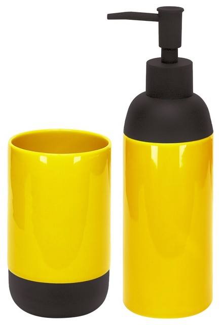 Modern bath accessories set of 2 liquid soap dispenser for Bathroom accessories yellow