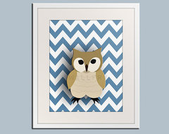 Owl nursery art for children Chevron zigzag print 11x14 by Wallfry