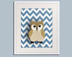 Owl nursery art for children Chevron zigzag print 11x14 by Wallfry