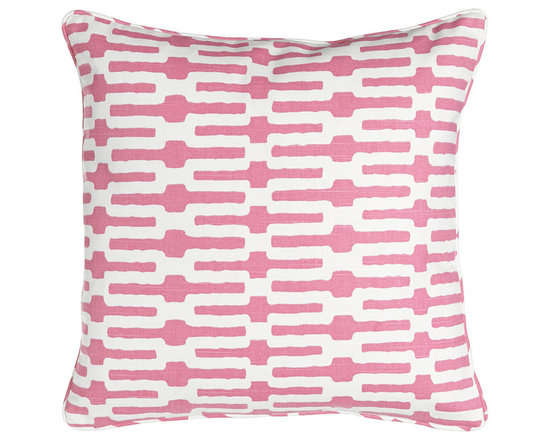 """Pine Cone Hill - Links Pillow 18""""Sq. - PINK - Pine Cone HillLinks Pillow 18""""Sq.Designer About Pine Cone Hill:Pine Cone Hill designed by Annie Selke is a collection of bed linens with Selke's signature charming prints and patterns. The designer began making her Pine Cone Hill linens with a sewing machine on her dining room table. Today the collection has fans across the country who love the line's easy sophistication."""