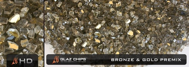 1/4 Inch Bronze and Gold Mix Fireglass (10lbs) contemporary-fire-pits