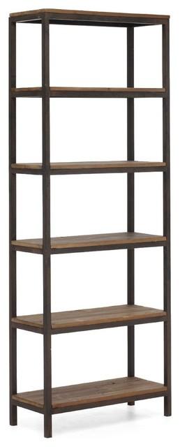 Civic wood and metal bookshelf modern bookcases new for Post modern bookshelf