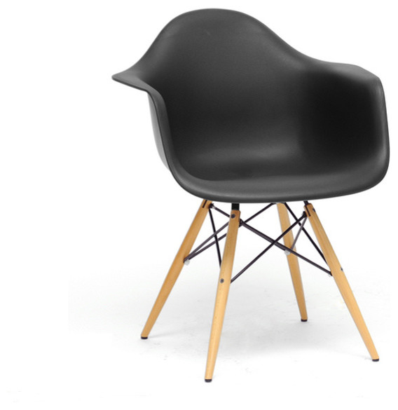 Baxton studio pascal black plastic mid century modern for Black plastic dining chairs