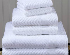 White Chevron Cotton Towels traditional-towels